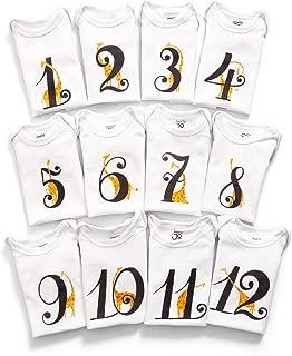 JumpOff Jo Baby Milestone Onesies, 12 Bodysuit Set, Seize The Moments, Giraffe