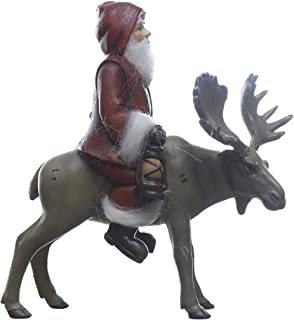 Creative Co-op Santa Riding A Moose Rosy Red 9 x 8 Resin Stone Christmas Holiday Figurine