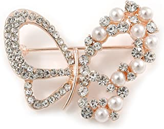 d6e17a11e Avalaya Exquisite Crystal, Faux Pearl Bead Butterfly Brooch in Rose Gold  Metal - 40mm Across