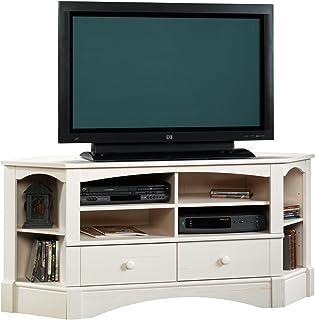 "Sauder Harbor View Corner Entertainment Credenza, For TVs up to 60"", Antiqued White finish"