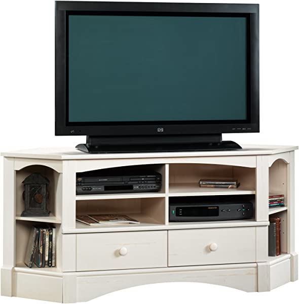Sauder 402905 Harbor View Corner Entertainment Credenza For For TVs Up To 60 Antiqued White Finish