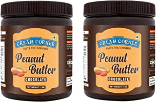 CREAM CORNER Peanut Butter Combo Chocolate + Chocolate Spread All Natural High Protein Nut Butter Healthy Snack (1Kg+1Kg)