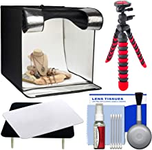 Smith-Victor 15.5-Inch Desktop LED Light Box Studio Tent with Turntable, 4 Backgrounds & Case, Reflective Table + Tripod Kit