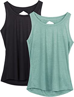 ffc32a2a3e icyzone Yoga Tops Activewear Workout Clothes Open Back Fitness Racerback  Tank Tops for Women