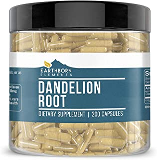 EARTHBORN ELEMENTS Dandelion Root, 200 Capsules, 100% Pure & Natural, Non-GMO, for Digestion* (470 mg Serving)