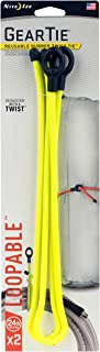 Nite Ize Gear Tie Loopable, The Original Reusable Rubber Twist Tie With Sturdy Integrated Loop, 24-Inch, Neon Yellow, 2 Pack, Made in the USA
