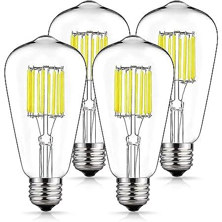 Vintage LED Edison Bulb 100W Equivalent Daylight White 4000K, DORESshop No Dimmable 10W ST64 Antique LED Filament Light Bulb, E26 Base Squirrel-Cage Antique Lamp for Home Decor, Reading Room, 4Pack…
