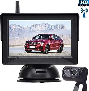 Leekooluu Digital Wireless Backup Camera for Cars/Trucks/SUVs/Pickups,4.3 Monitor High-Speed Observation System, IP69K Waterproof Front/Rear View Camera,Super Night Vision,Guild Lines On/Off