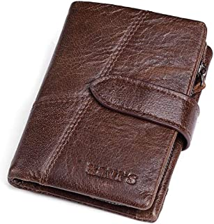 Leather Bag Mens Men's Purse Leather Clip Clip Zipper Purse Splicing Clutch High Capacity (Color : Brown)