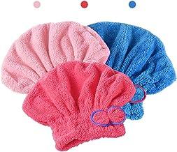 AUTOWT Envoltura de toallas para el cabello, 3 Piezas paquetes para secar el cabello Ultra suave ultra absorbente, lindo a...