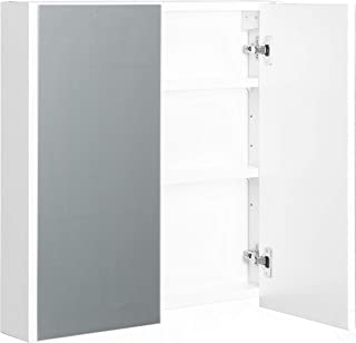 Basicwise QI003674 2 Shelves White Wall Mounted Bathroom/Powder Room Mirrored Door Vanity Cabinet Medicine Chest