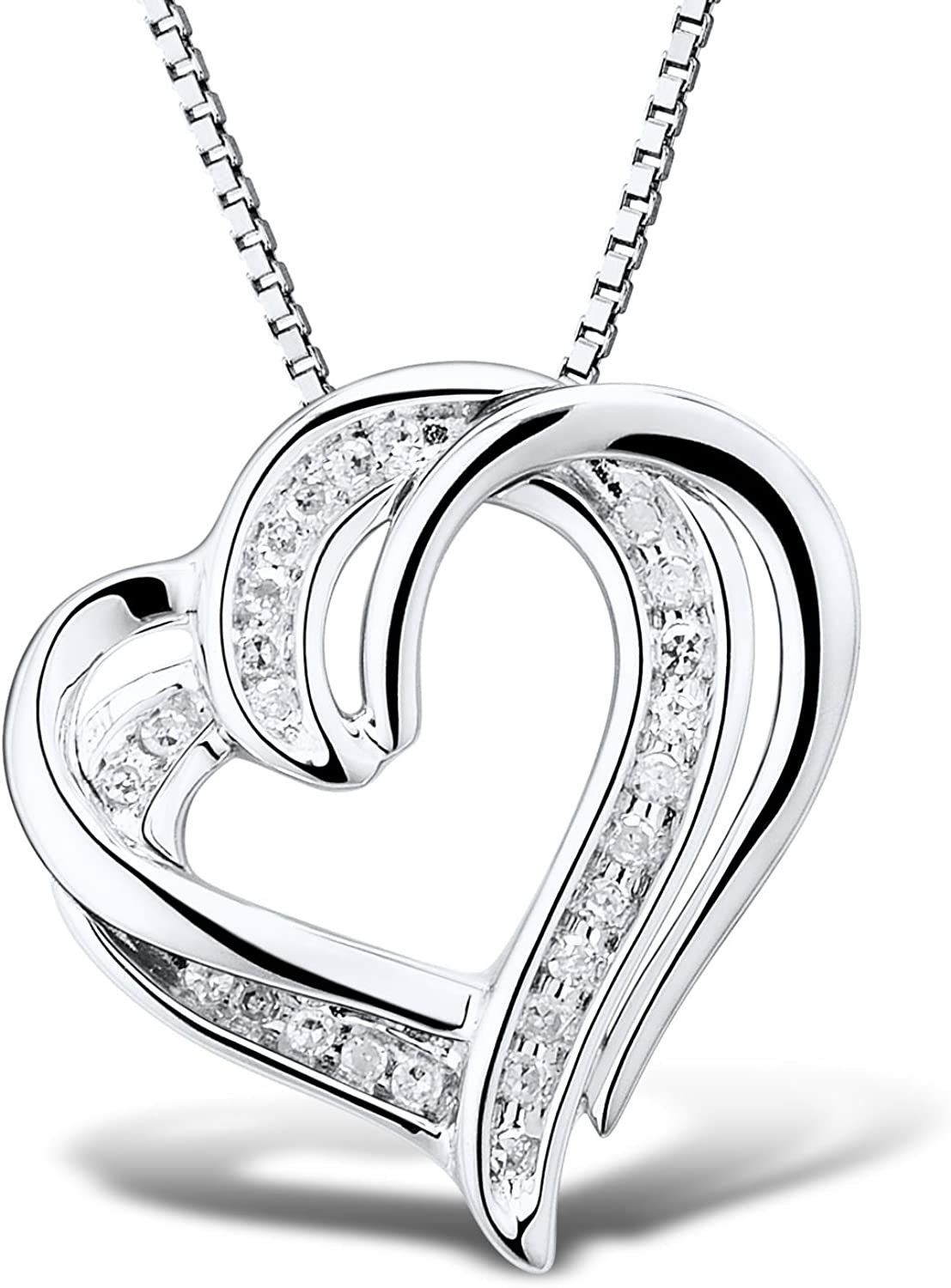 Diamond Heart Pendant A surprise price is realized Necklace 1 10 18 Sterling cttw 25% OFF In - Silver