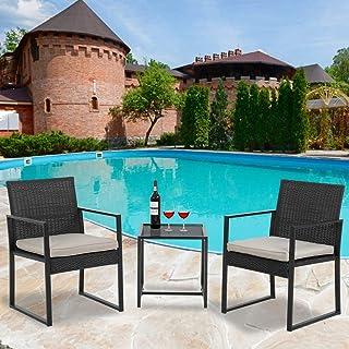 2ed43436f56 3 Piece Wicker chair Bistro Set Patio Furniture Set Outdoor Rattan Chairs  Wicker Conversation Set for