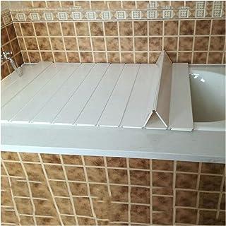 ZHANWEI 浴槽カバー 防塵ボード 風呂ふた,折りたたみ式 暖かくしてください、 ダストカバー バスルームシャワーブラケット (Color : White, Size : 154x75x0.6cm)