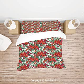 FashSam Duvet Cover 4 Pcs Comforter Cover Set Blooming Hibiscus and Wildflowers Monstera Palm Leaves Tropical Foliage Jungle for Boys Grils Kids(Queen)