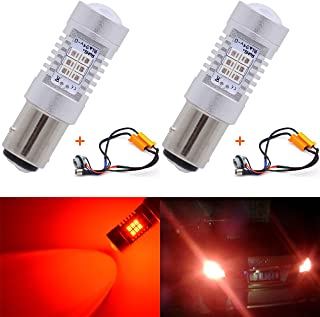 KaTur 7528 1157 BAY15D 1016 1034 94 Red LED Bulbs 2835 42SMD 12V Lens LED Turn Signal Light with Canbus Decoder Error Free 50W 8ohm Load Resistors Harness Set (Pack of 2)