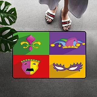 Cozyadecor Mardi Gras Doormats Bath Mat, Colorful Frames with Mardi Gras Icons Masks Harlequin Hat and Fleur De Lis Print Low Profile Door Mat with Non-Slip Back, 16