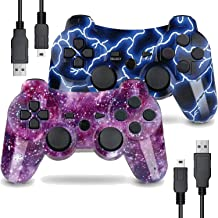 Burcica Wireless Controller for PS3 Playstation 3 Dual Shock, Gaming Gamepad Joystick Remote for PS3 6-axis with Charging Cord (2 Pack, Blue+Purple)