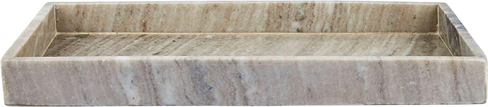 INA KI Natural Marble Serving | Counter Top | Vanity Organizer | Bath, Multipurpose Tray (Beige)