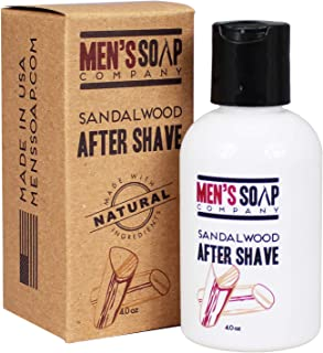 Aftershave for Men 4.0 oz After Shave Balm Made With Organic and Natural Vegan Plant Ingredients - Post Shave Lotion for Sensitive Skin Eliminates Razor Burns, Calms Irritation & Cools Skin Sandalwood