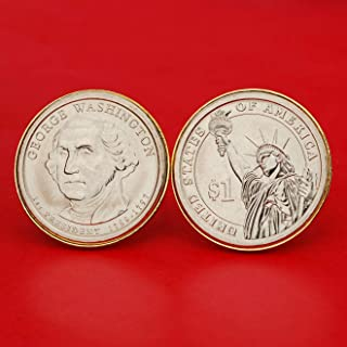 US 2007 Presidential Dollar BU Uncirculated Coin Gold Plated Cufflinks NEW - George Washington (1789−1797 Years Served) Obverse Reverse
