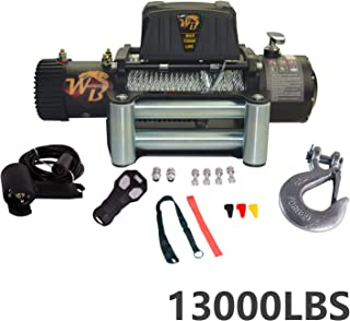 VIOJI Universal Steel Rope 13000LB 12V 265/1 Gear RatioElectric Recovery Winch Wireless Remote Control 4-Way Roller Fairlead for Pickup Truck 4WD JEEP SUV Van Train Boat Trailer