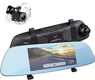 AUKEY Dash Cam Espejo Pantalla Táctil LCD de 68 Pulgadas Cámara de Coche con Cámara Frontal 1080p y Trasera 20p Resistente al Agua Dashcam con Modo de Aparcamiento Detección de Movimiento G-Sensor
