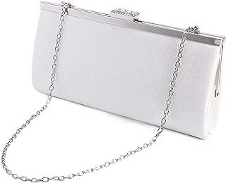 Anladia Glitter Design Crystal Rhinestones Block Top Clasp Women Clutch Evening Handbag White