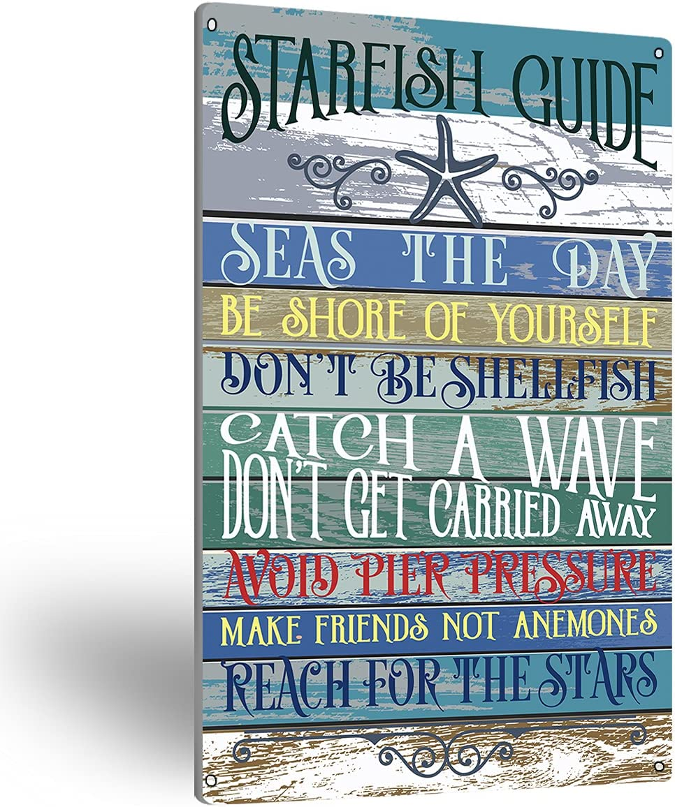 NISTOMISU Starfish Guide Rules Metal Tin Sign Wall Art Farmhouse Signs Gifts for Home Beach Country Wall Decor(8