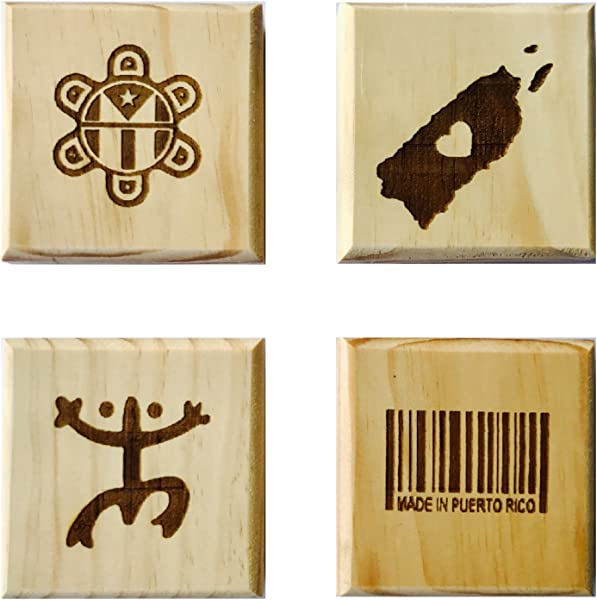 Puerto Rican Pride Coasters By Brindle Designs Permanent Engraved Gift Set Of 4 Wood Coasters Coqui Symbol Made In Puerto Rico Barcode Map Taino Sun