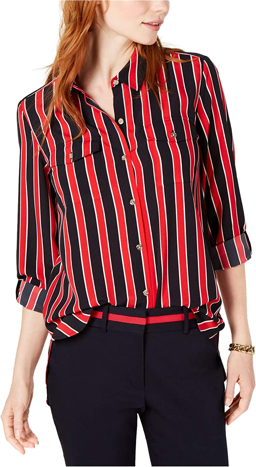 Tommy Hilfiger Womens Roll Tab Button Down Blouse