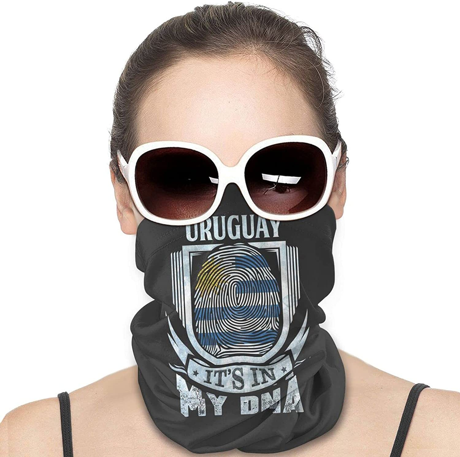 Its In My Dna Uruguay Flag Round Neck Gaiter Bandnas Face Cover Uv Protection Prevent bask in Ice Scarf Headbands Perfect for Motorcycle Cycling Running Festival Raves Outdoors