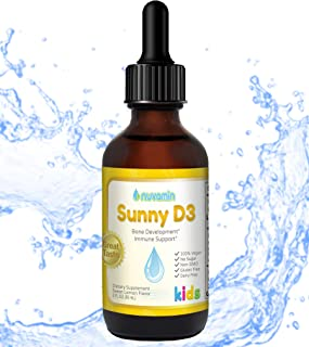 Nuvamin Organic Liquid Liposomal Vitamin D3 Drops, 1200 IU, 2Fl. Oz (60ml). Babies & Children Supplement. All Natural, Eas...