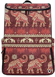 Red Elephant Animal Mandala Travel Duffel Backpack, Gym Backpack Outdoor Travel Bag with Shoe Compartment