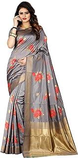 Women's Banarasi Silk Woven Work Saree Indian Wedding Ethnic Sari with Unstitch Blouse Piece Pari 41 (Grey)