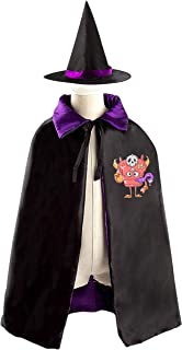 69PF-1 Halloween Cape Matching Witch Hat Pink Monster Wizard Cloak Masquerade Cosplay Custume Robe Kids/Boy/Girl Gift Purple