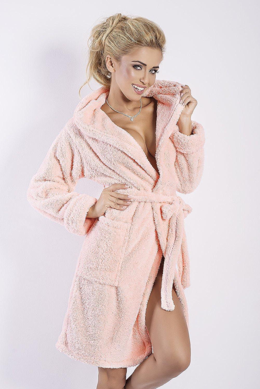 Damen Bademantel kurz mit Kapuze - Flauschiger Saunamantel Morgenmantel Nachtwäsche Diana Lachs