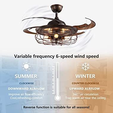 SILJOY 36 Inches Industrial Retractable Ceiling Fan with Light and Remote Vintage Cage Reversible Chandelier Ceiling Fandelie