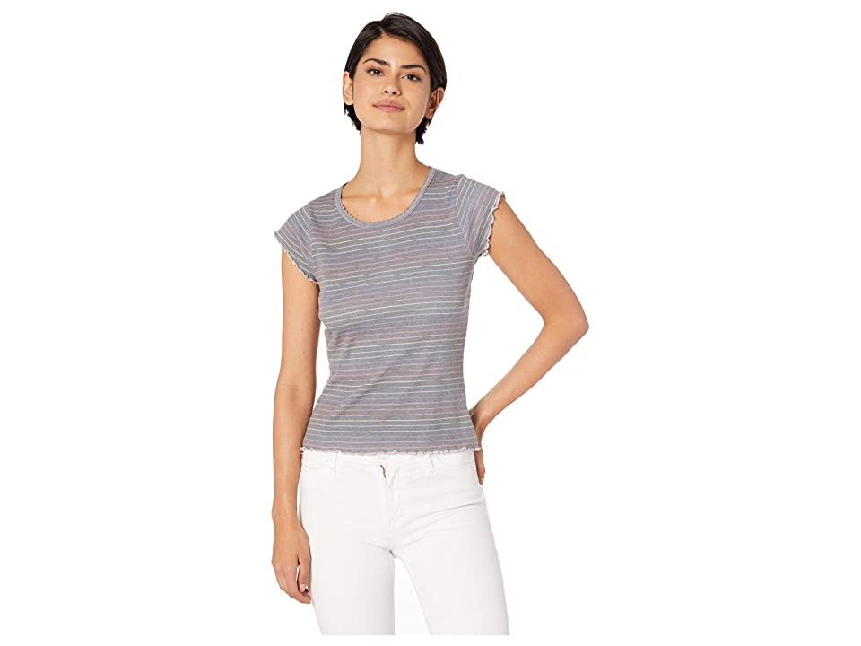 Chaser Rainbow Mini Stripe Vintage Rib Cropped Baby Tee (Black) Women's T Shirt