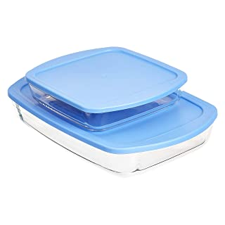 Amazon Basics Oven Safe Glass Baking and Food Storage Dish Set with BPA-Free Lids, Set of 2, Rectangular 3.6L and Square 1.6L