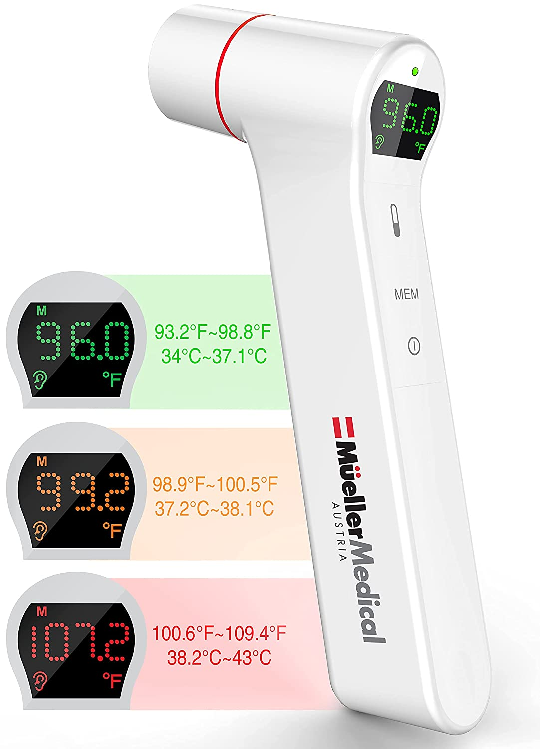 New sales Mueller Ear Forehead Thermometer for Kids Fever and Excellent Adults w