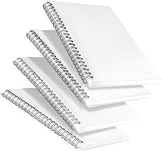 Labkiss Dot Grid Notebook Spiral, A5 Dotted Bullet Grid Journals Bulk, 80 Sheets per Book, Thick Paper Travel Journal Set for Travelers, Students, Office, Wirebound Diary Planner, 5.7x8.3 inch, 4 Pack