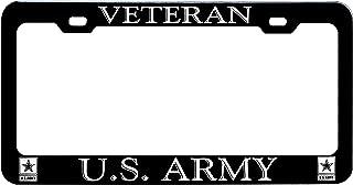 GoPlates License Frames GP-BLK03 License Plate Frame (Laser Engraved, Army Veteran Black Anodized Aluminum
