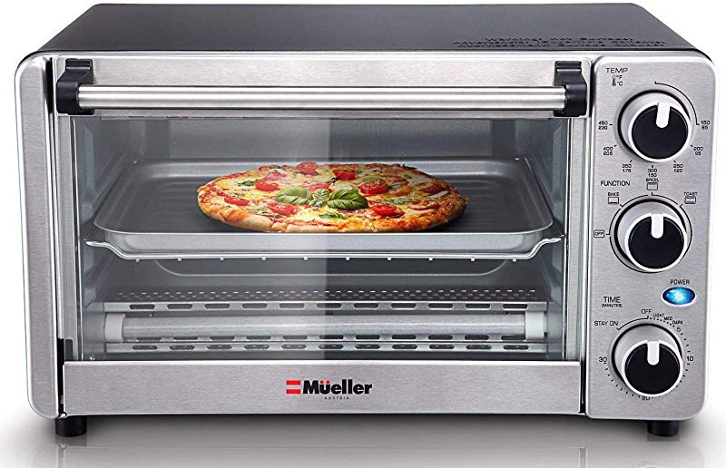 Toaster Oven 4 Slice Multi Function Stainless Steel With Timer Toast Bake Broil Settings Natural Convection 1100 Watts Of Power Includes Baking Pan And Rack By Mueller Austria