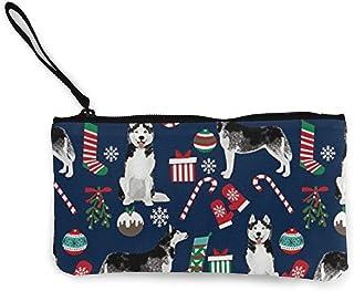 Wallet Purse,Perro Husky En El Bolso De Lona De Navidad, Monederos De Moda para La Fiesta De Compras De Viajes,22(L) x12(W) cm