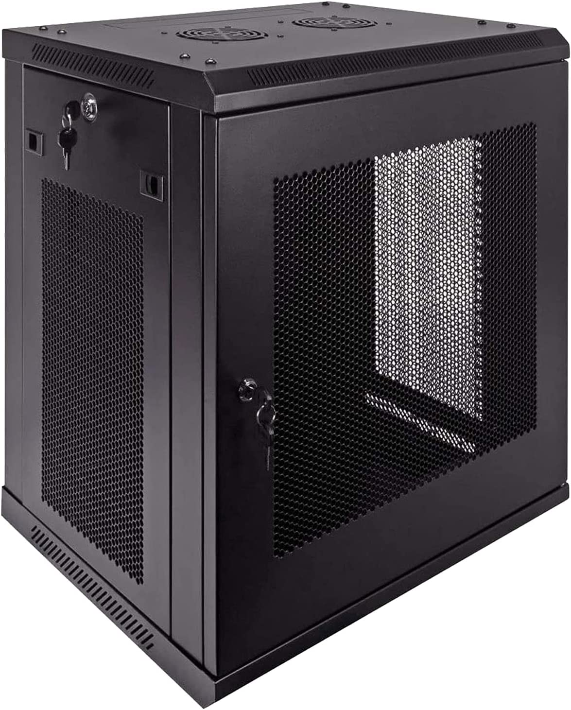 12U Deluxe IT Wallmount Cabinet Enclosure 19-Inch Server Network Rack with Locking Perforated Door 16-Inches Deep Black,ApplytoNetworkWiringRoom,ComputerRoom,Office,etc.SoldbyFerruNet