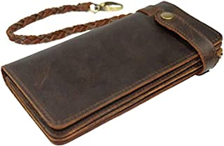 Mens Wallet RFID Blocking Vintage Long Style Cow Leather with Chain Card Holder Wallets for Men