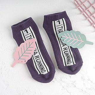 Women's Socks Boat Socks Terry Sports Socks Tide Spring, Summer, Autumn and Winter Seasons-5 Pairs Games Series Yellow Purple Socks Men's Socks,Fully Breathable