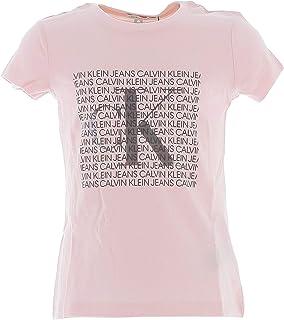 Calvin Klein -IG0IG0521 TBV -Iridescent Logo SS T-Shirt Chalk Pink - Camiseta Manga Corta para NIÑA