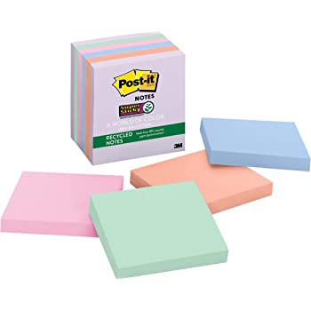 Post-it Super Sticky Recycled Notes, 3 in x 3 in, 6 Pads, 65 Sheets/Pad (654-6SSNRP)
